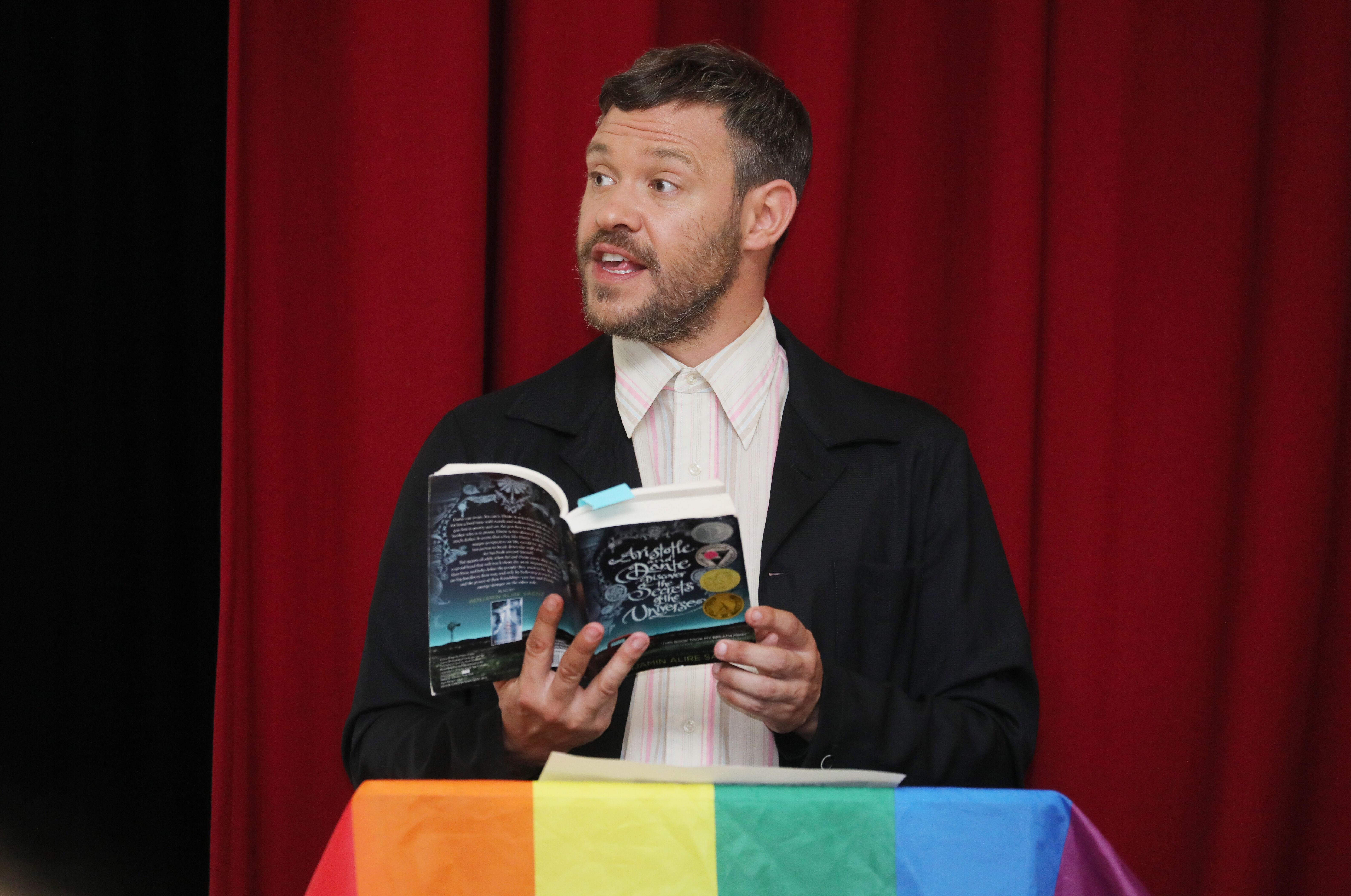 Will Young reads LGBT+ book at amazon reading roadshow event