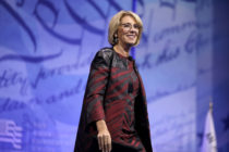 US Secretary of Education Betsy DeVos addresses the Conservative Political Action Conference at the Gaylord National Resort and Convention Center February 23, 2017 in National Harbor, Maryland.