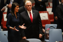 U.S. Vice President Mike Pence stands with then-Ambassador to the United Nations Nikki Haley on September 20, 2017