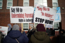 Protesters demonstrate against the 'No Outsiders' programme at Parkfield Community School on March 21, 2019 in Birmingham, England.