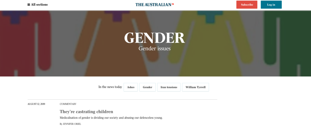 Australian national newspaper condemned for introducing new 'anti-trans' section